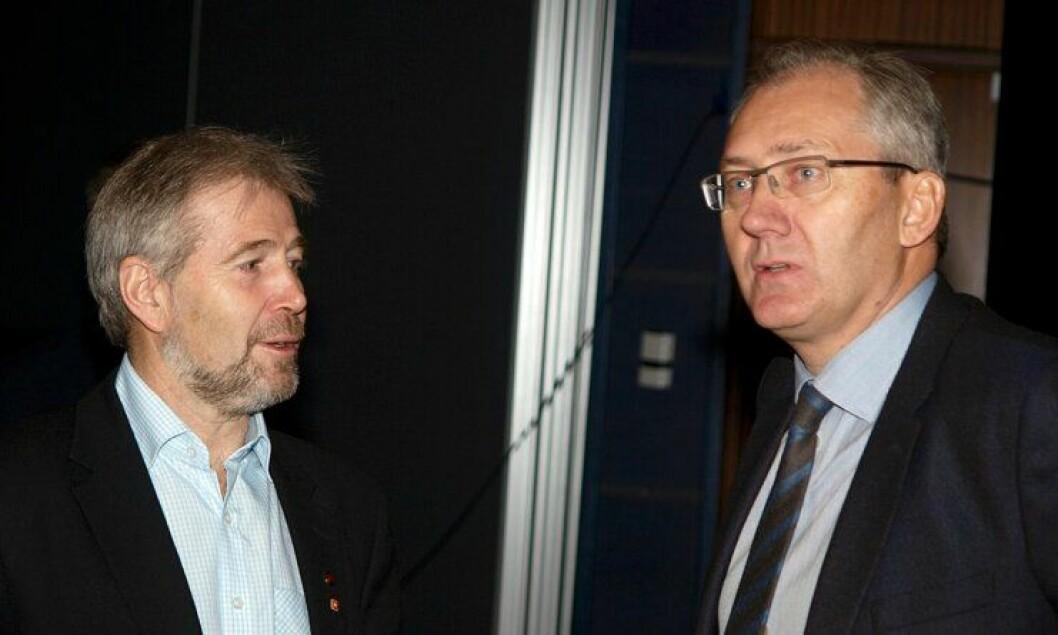 Arne Johannessen og Odd Reidar Humlegård under Politiets Fellesforbunds (PF) landsmøte 2012.