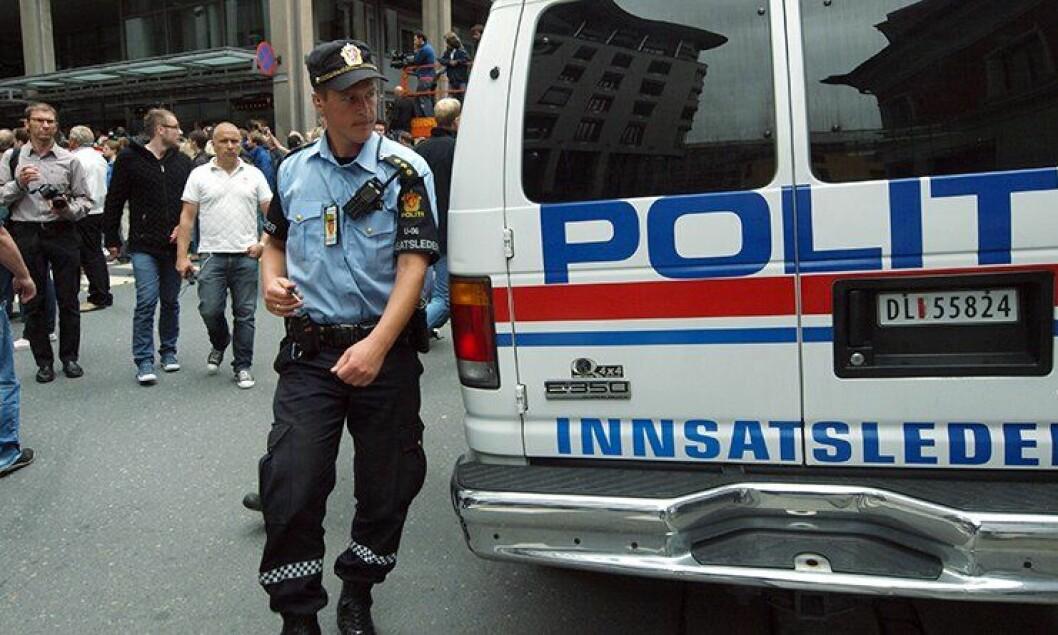 Politi i ved Tinghuset i Oslo etter 22. juli 2011.