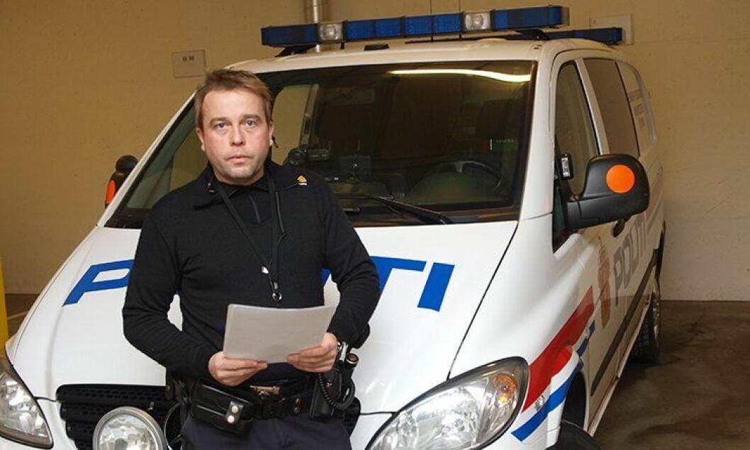 Politiførstebetjent Frode Hjulstad ved Hamar politistasjon.