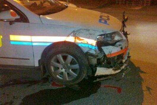 Politibilen ble kraftig skadet etter en biljakt i Bodø, romjulen 2012.