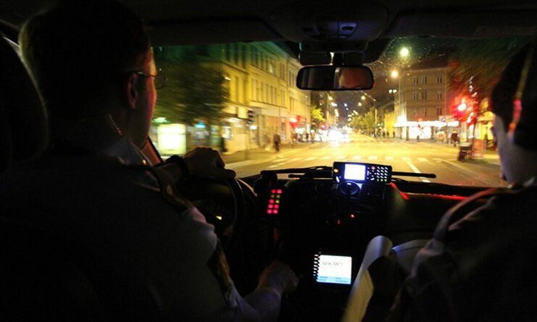 Politipatrulje på utrykning i Oslo.