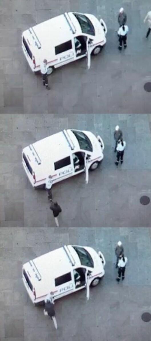 Videobildene viser hvordan Eirik Sannes blir angrepet.