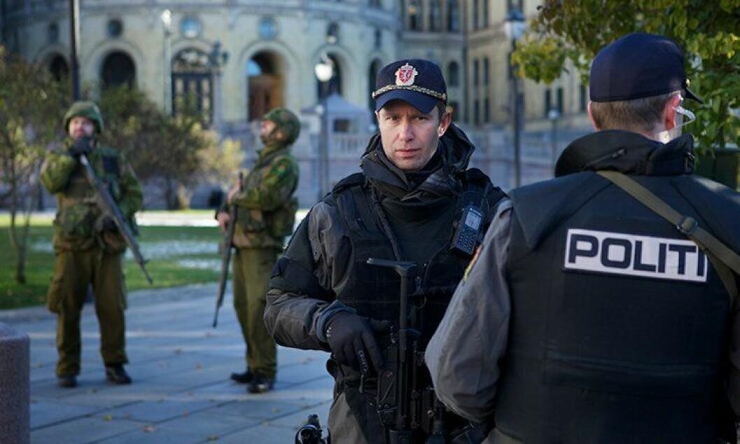 Øvelse Tyr er politiets årlige, nasjonale øveldse med Politidirektoratet (POD) som eier og ansvarlig myndighet. Her fra Stortinget.
