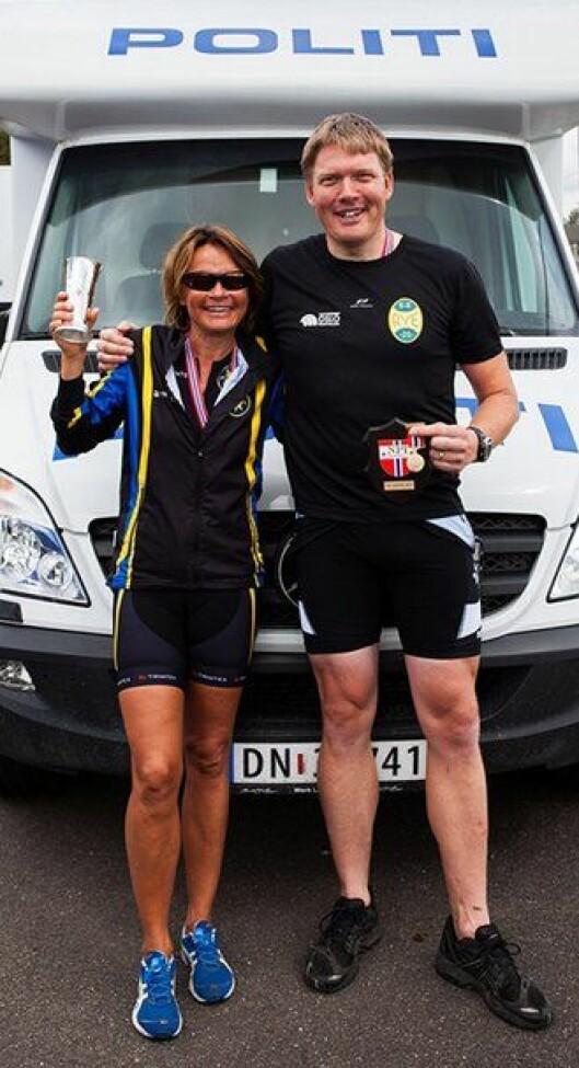 Tina Mjelde og Øyvind Kværner gikk til topps i politimesterskapet i triatlon 2013.
