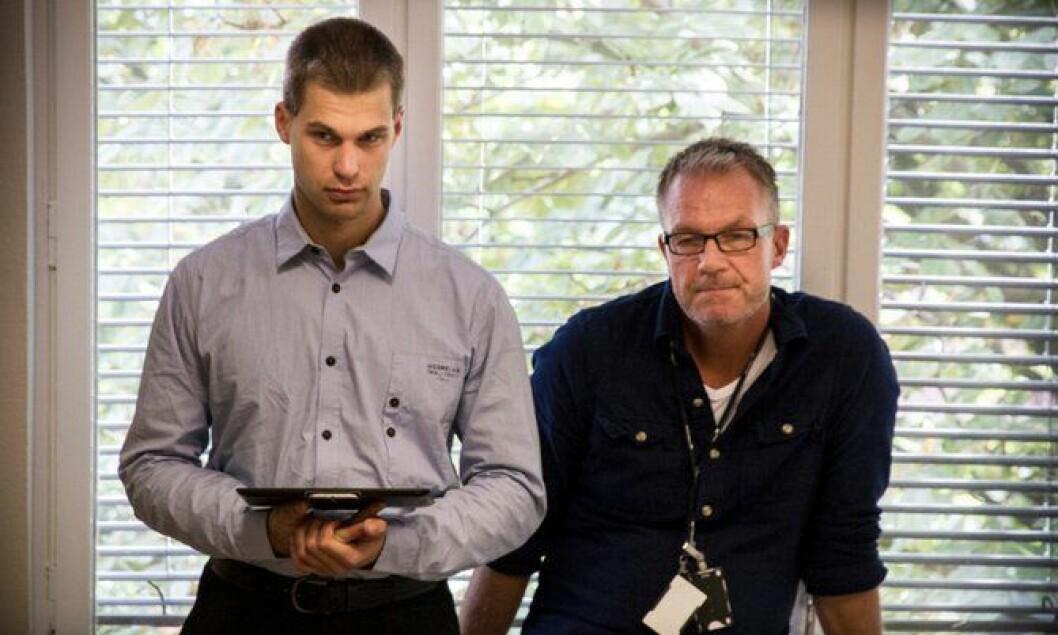Dataspesialister Emil Jenssen fra Oslo pd og Jørn Helge Jahren fra Vestfold pd
