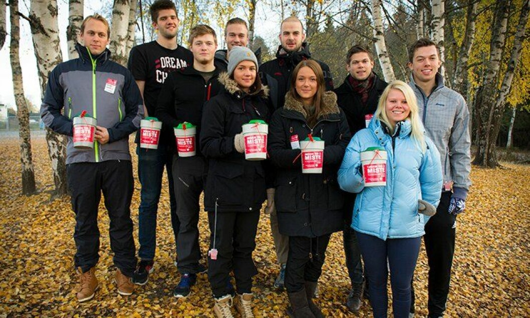 Politistudenter på Kongsvinger gikk for TV-aksjonen 2013. Fra venstre:  Anders Husväg, Steinar Rakneberg, Bernt Åge Rekstad, Erik Abusdal, Mariell Wangen, Vetle Fosse, Gina Nordlie, Martin Hammervik, Gina Ruud og Marius Melby.