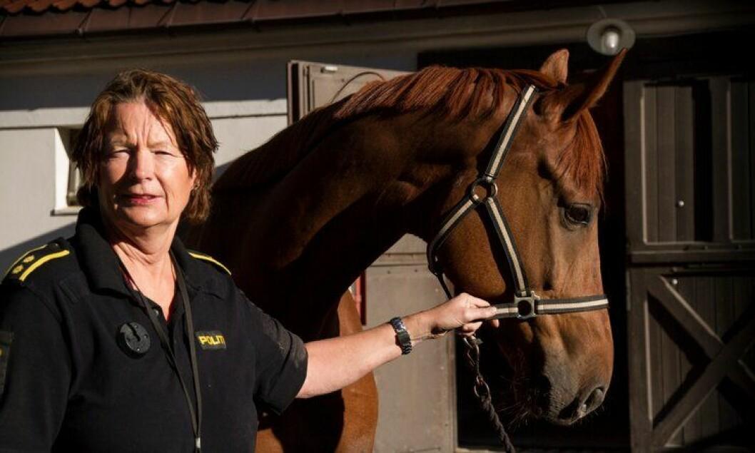 Drude Fogh, leder i Rytterkorpset har fått inn en ny hest fra Danmark, som nå skal gjennomføre prøvetid i politiet.