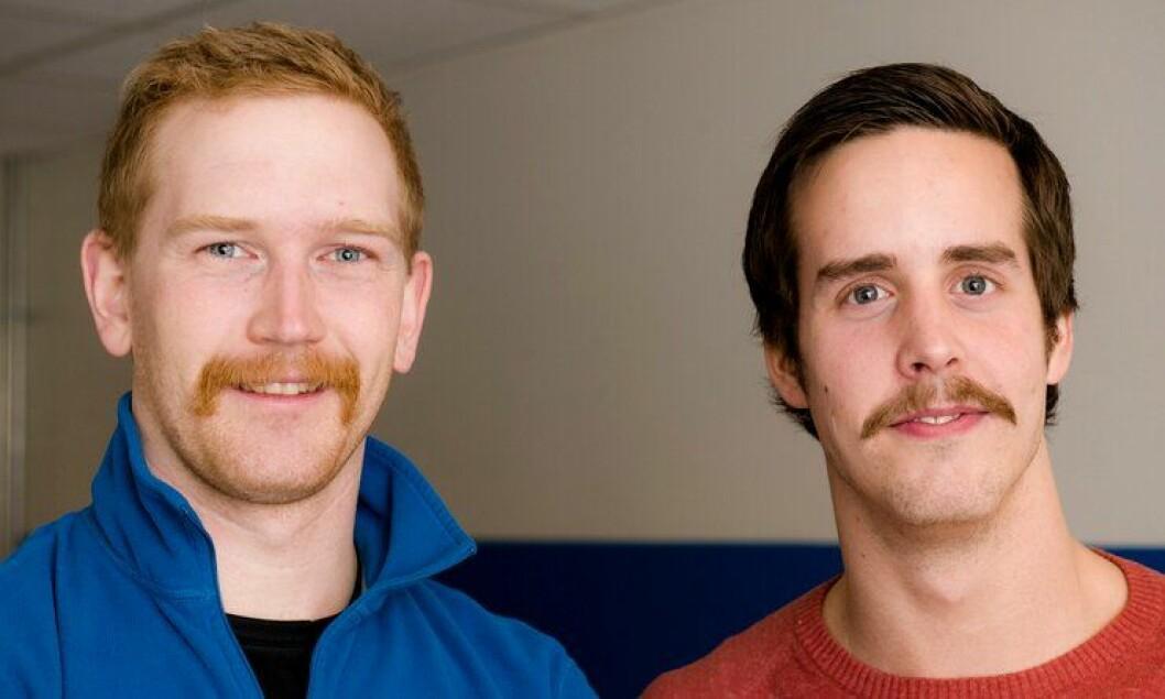 Eirik Grønmo og Øystein Antonsen Larsen, begge førsteårstudenter ved PHS i Kongsvinger, oppfordrer Politietaten til å vise frem sin fineste bart.
