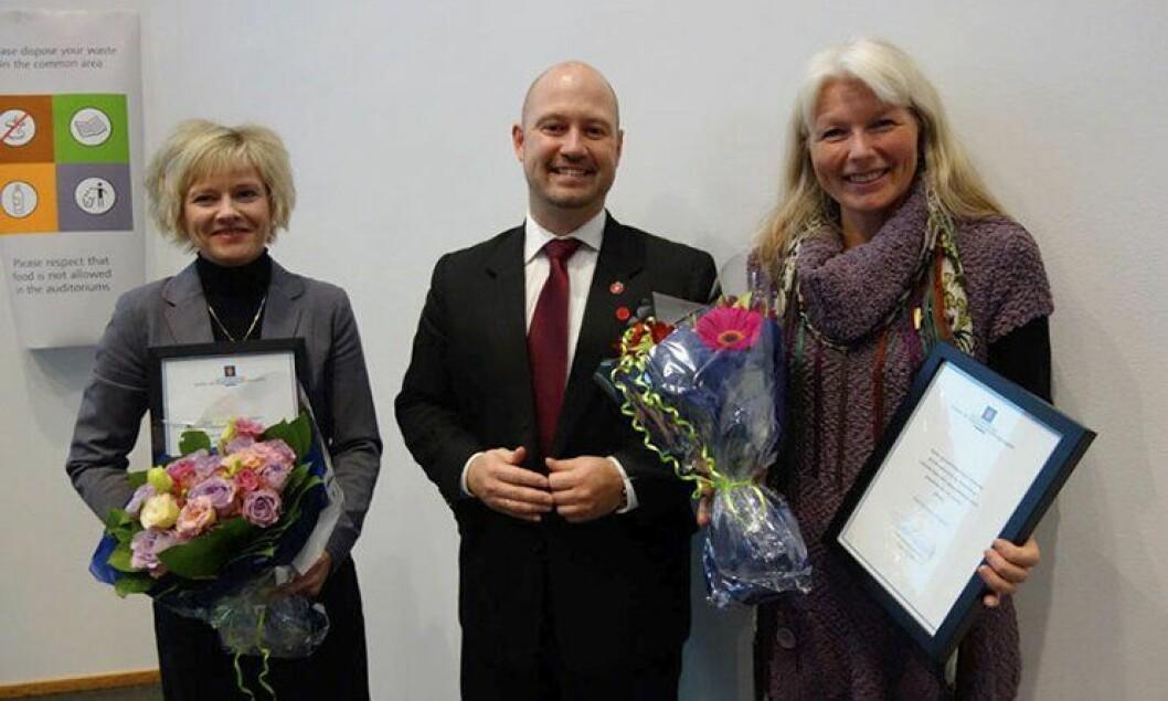 Justis- og beredskapsminister Anders Anundsen, Lilja Hansen Østfinnmark politidistrikt og Marny Melkelid fra Incestsenteret i Vestfold.