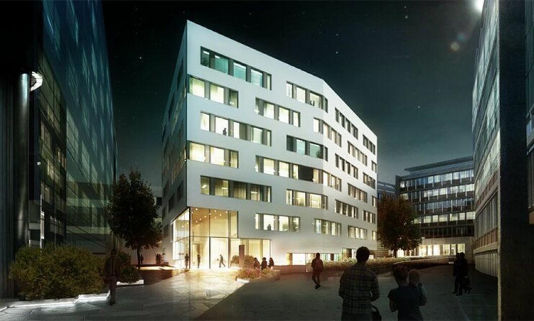 Slik blir Politidirektoratets (POD) nye kontorbygg i Fridtjof Nansens vei på Majorstua seende ut.