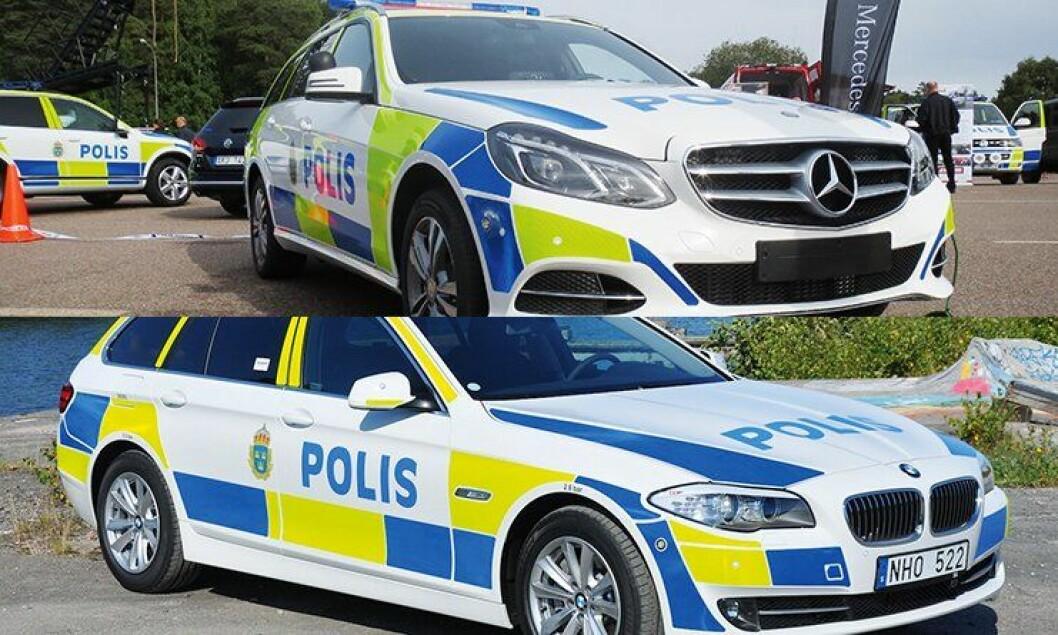 Mercedes E250 og BMW 525 X-drive er på full fart inn i svensk politi.