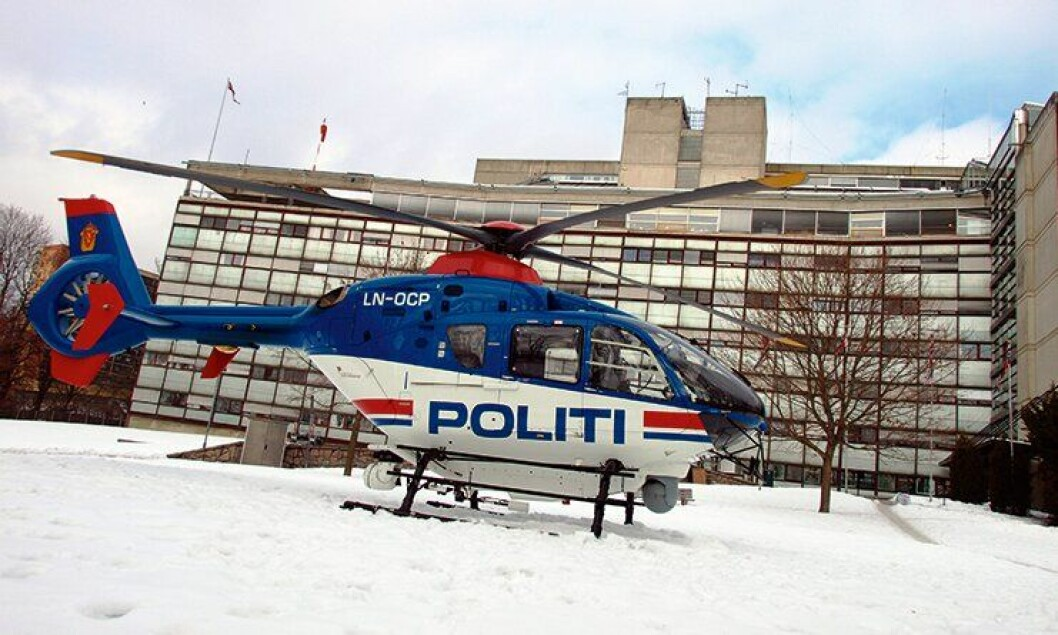 Politihelikopteret foran politihuset i Oslo.
