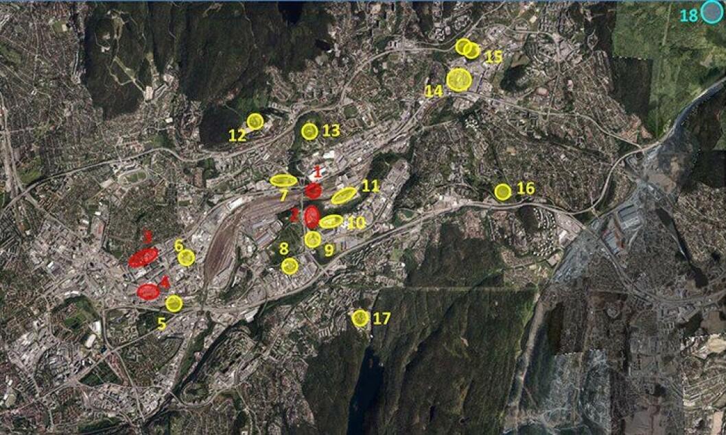 Disse 18 tomtealternativene ble vurdert som mulige tomter til politiets beredskapssenter. Kartutsnittet er hentet fra Groruddalen i Oslo.