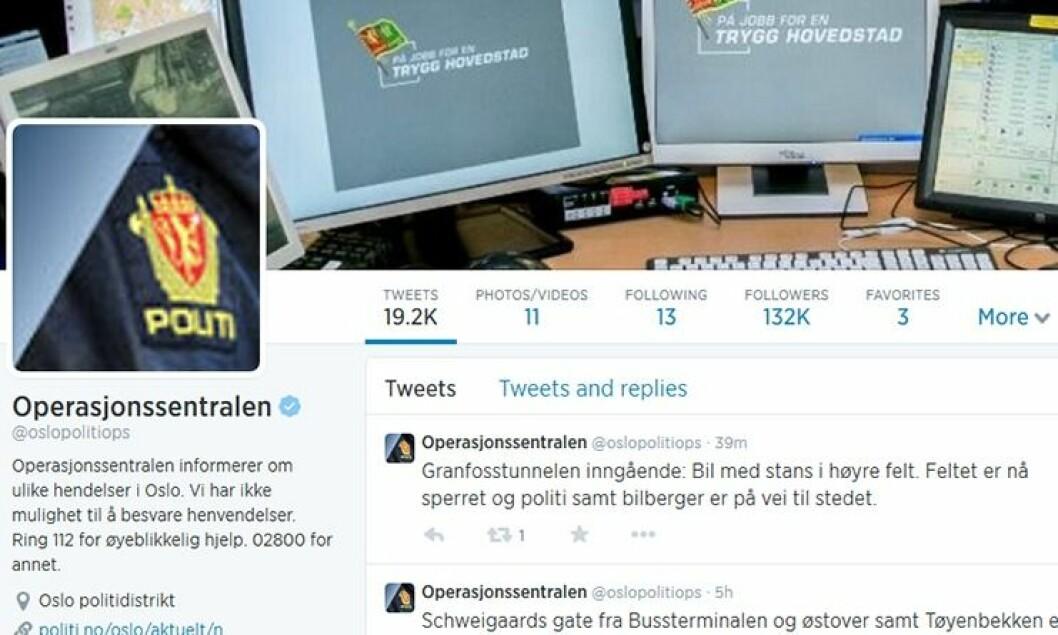 Operasjonssentralen i Oslo er soleklart størst i politiet på twitter.