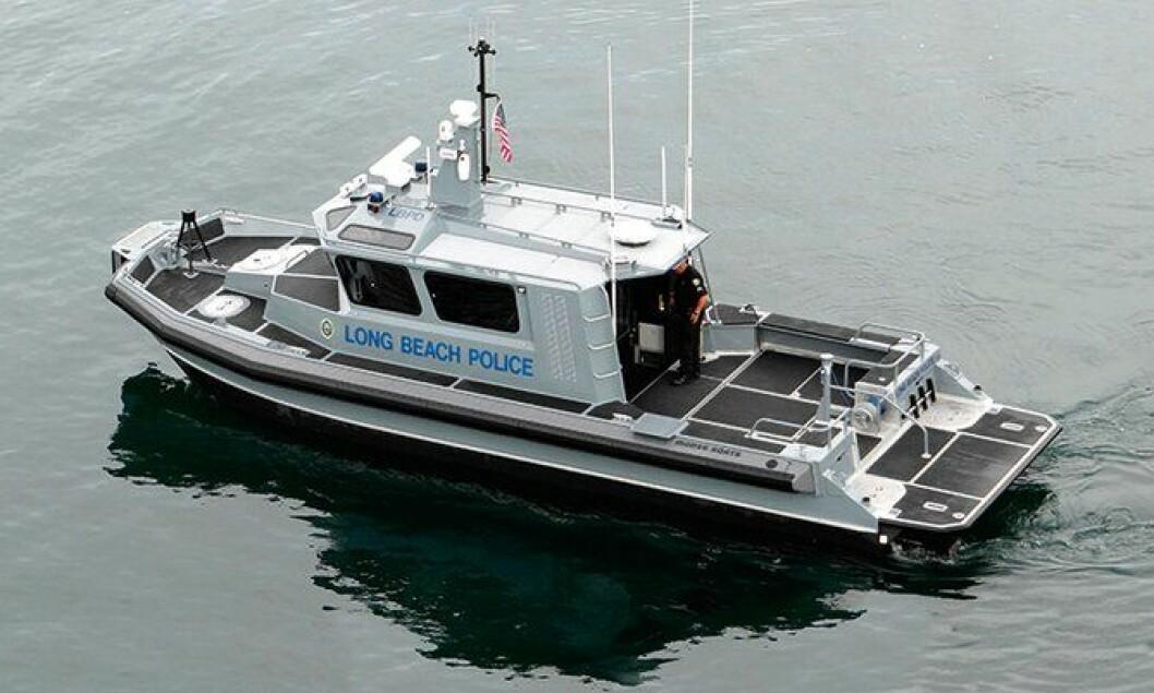 Dette er båten som politiet i Los Angeles patruljerer med.