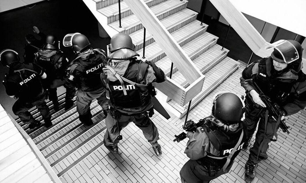 Politiet under øvelse i Stavanger.