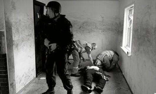 Politiet og nødetatene under en samøvelse i Stavanger.