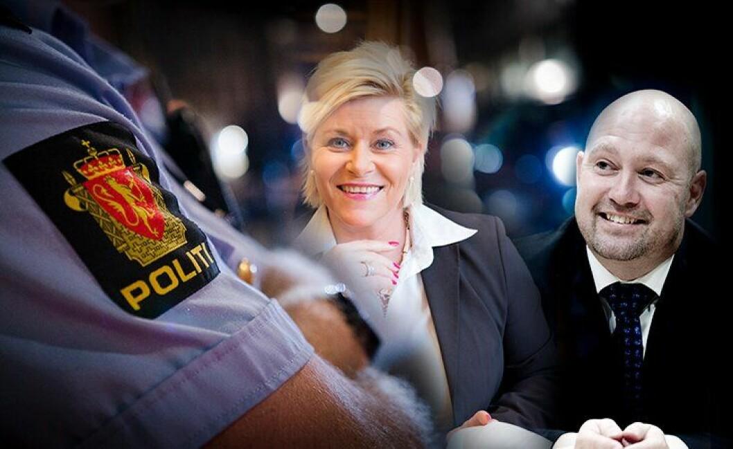 Finansminister Siv Jensen er sjef for pengesekken. Justis- og beredskapsminister Anders Anundsen for politiet. Hvordan fordeler de pengene for neste år?