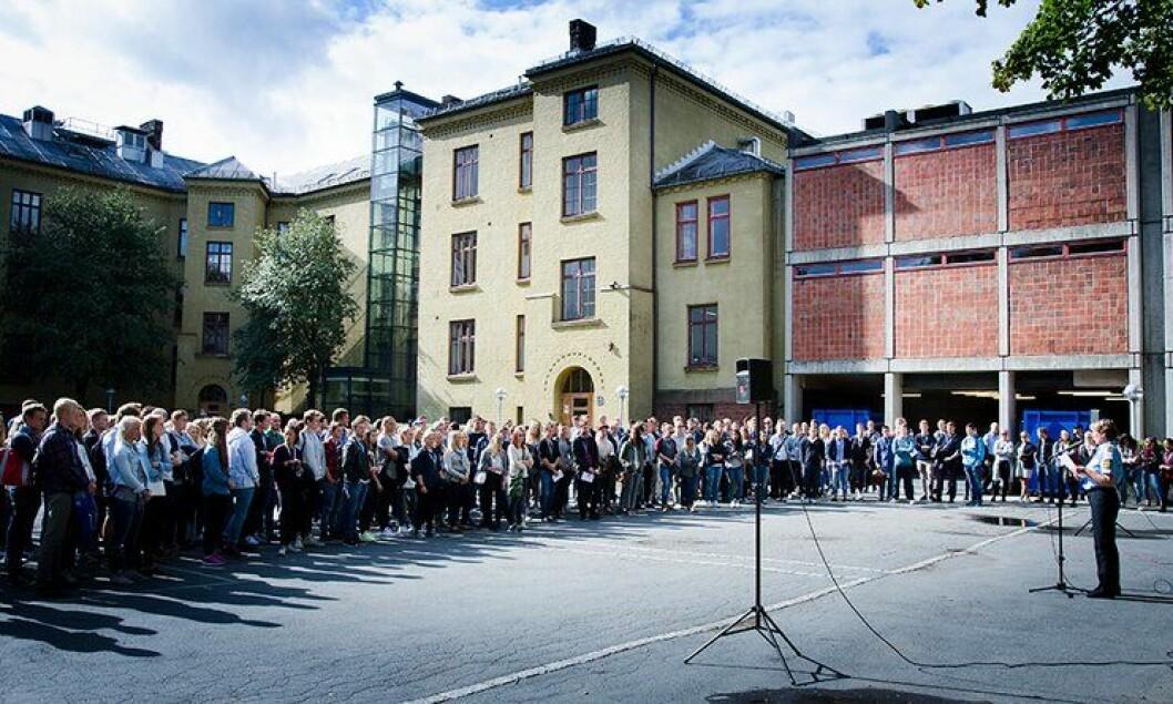 Her på Politihøgskolen er det sprengt kapasitet. Men det er ikke planlagt nybygg.