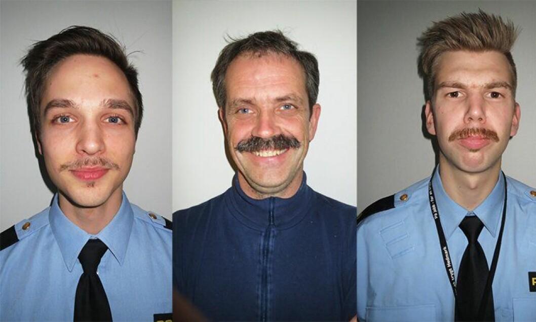 Jetmund Fure, fjorårets lokale vinner Herman Tronbøl, og Ola Flisnes viser fram fjorårets politibarter på Kongsvinger.