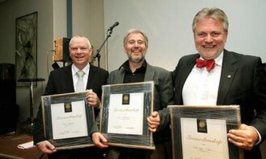 Egil Haaland, Arne Johannessen og Victor-Bjørn Nielsen fikk PFs æresmedlemsskap under landsmøtet i 2013.