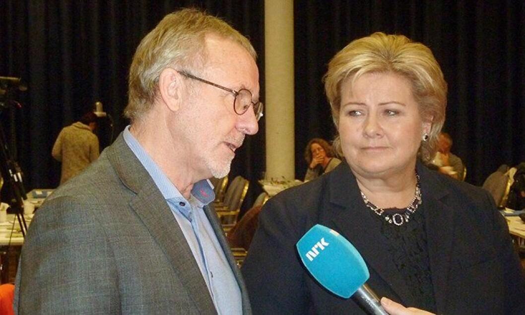 Unio-leder Anders Folkestad og statsminister Erna Solberg.
