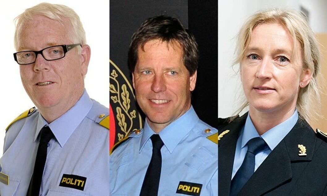 Politimester Geir Gudmundsen, visepolitimester Gunnar Fløystad og påtaleansvarlig Sidsel Isachsen.