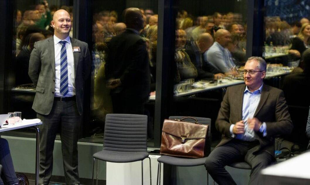 Justis- og beredskapsminister Anders Anundsen og politidirektør Odd Reidar Humlegård under PFs landsmøte i november. Nå grensene for det nye Politi-Norge fastlagt, ifølge vg.