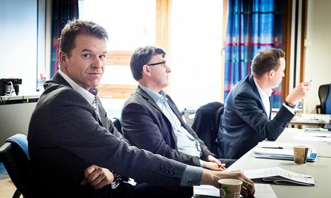 Sigve Bolstad fra Politiets Fellesforbund, Jonny Nauste i Norges Politilederlag og Sverre Bromander i Politijuristene under lederseminar på PHS onsdag.