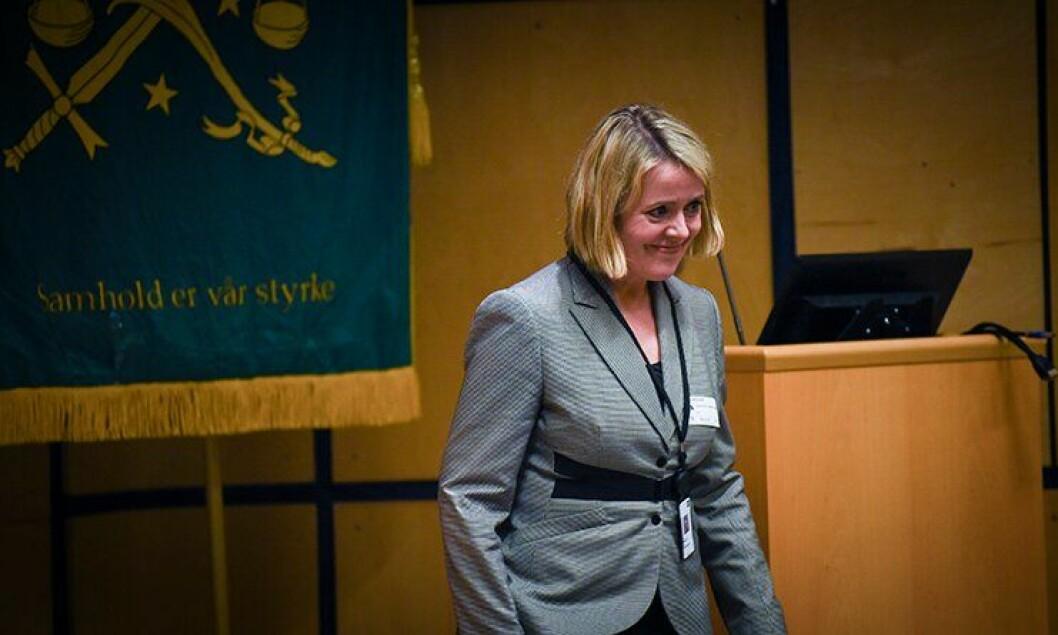 PST-sjef Benedicte Bjørnland snakket til Oslo Politiforening i går.
