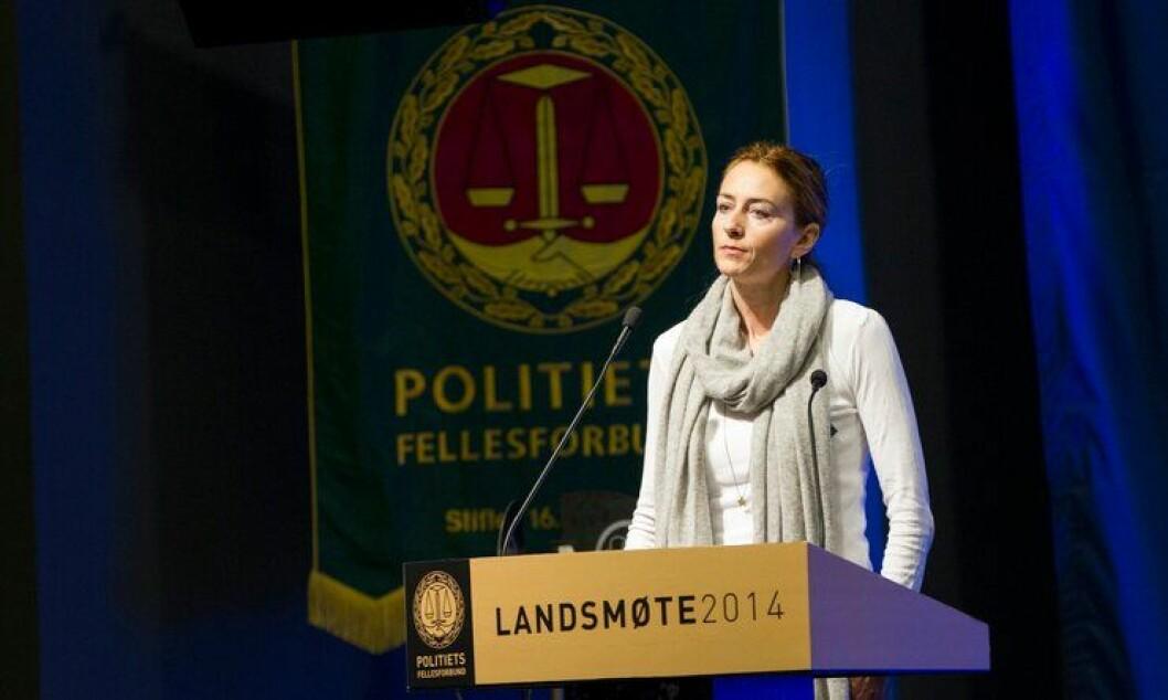 Kristin Aga ble gjenvalgt som leder i Oslo Politiforening i går. Her under landsmøtet i Bodø i november.