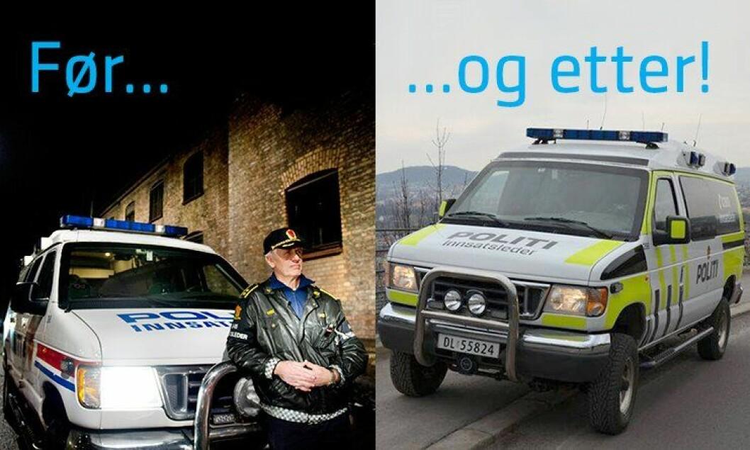 Innsatsleder Thor Langli har alltid vært glad i den trofaste innsatslederbilen. Her foran bilen fra et intervju med Politiforum i 2013. Til høyre er bilen i all sin nye prakt i dag.