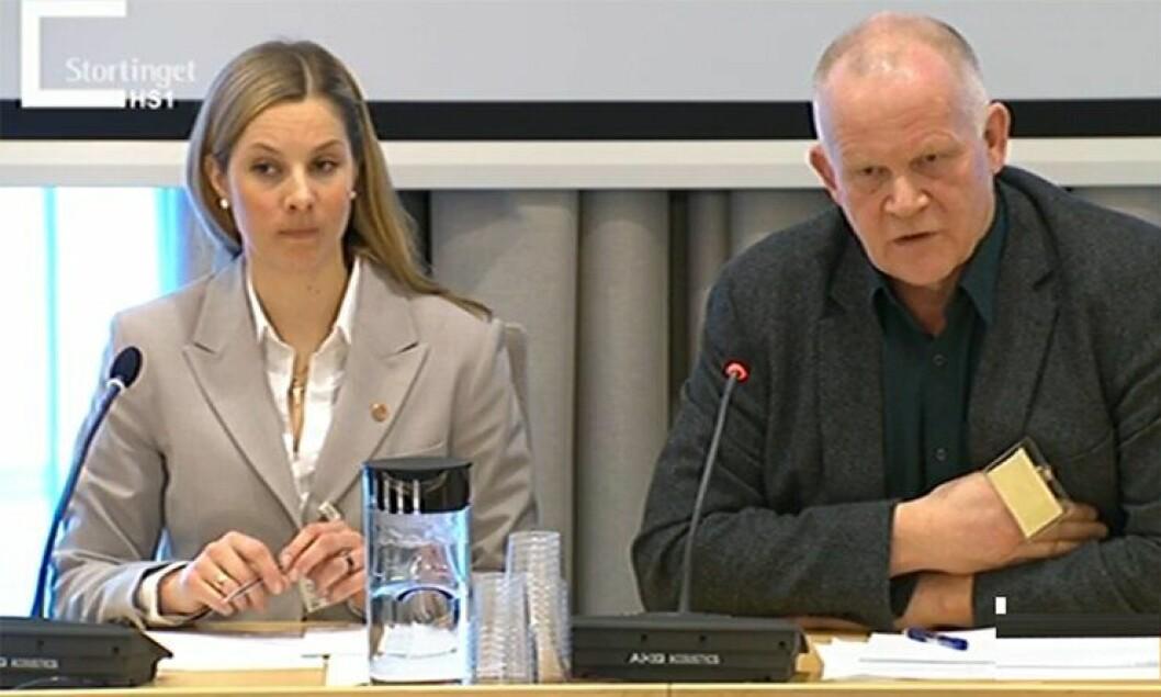 Anna Sollien og Terje Tømmerås fra PF møtte i høring i Stortinget i går.