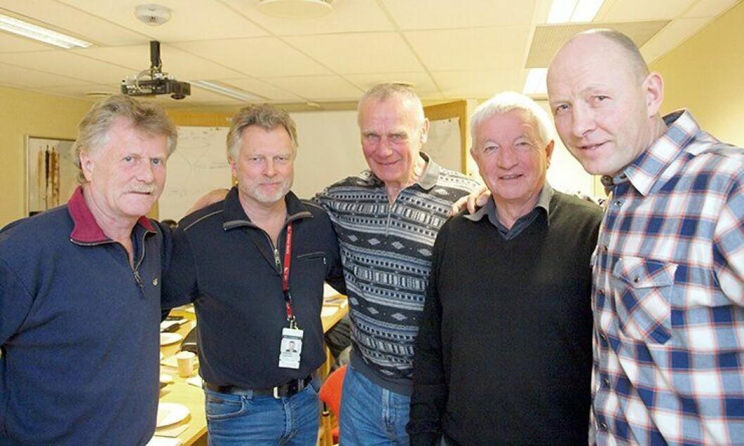 Staute veteraner: – Vi er der for hverandre, sier Øystein Aldal, Trond Evensen, Torleiv Vika, Asbjørn Myrind og Ingar Diskerud, alle tidligere Delta-menn.