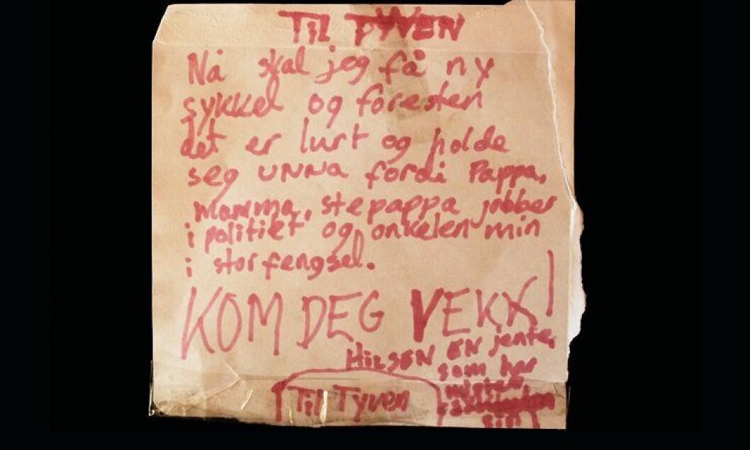 Helle Folstad Bjerkaas skrev tydelig melding til tyven etter at hun ble frastjålet sykkelen sin utenfor hjemmet nå i vår.