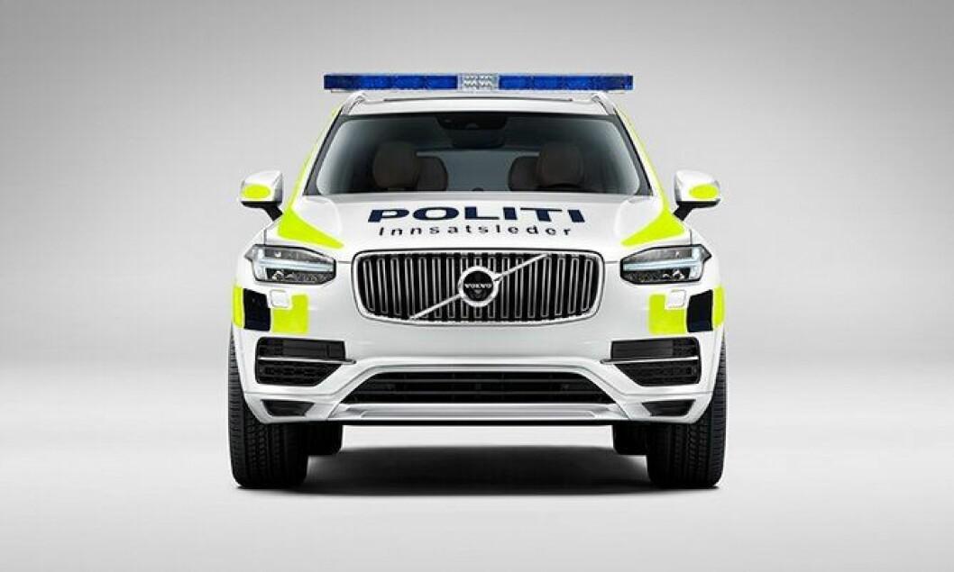 Vil XC90 ligne på dette hvis den blir ny politi-SUV? Bildet er manipulert og uniformeringen er lagt på i ettertid.