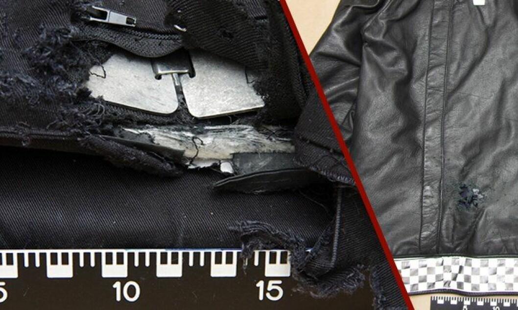 Slik så vesten og jakka til politimannen ut etter at han hadde blitt skudd. Noe av haglet gikk 26 cm inn i kroppen på politimannen.