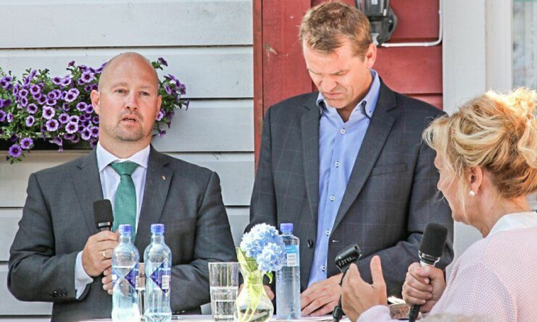 Justisminister Anders Anundsen og PF-leder Sigve Bolstad under debatten på Arendalsuka i dag.
