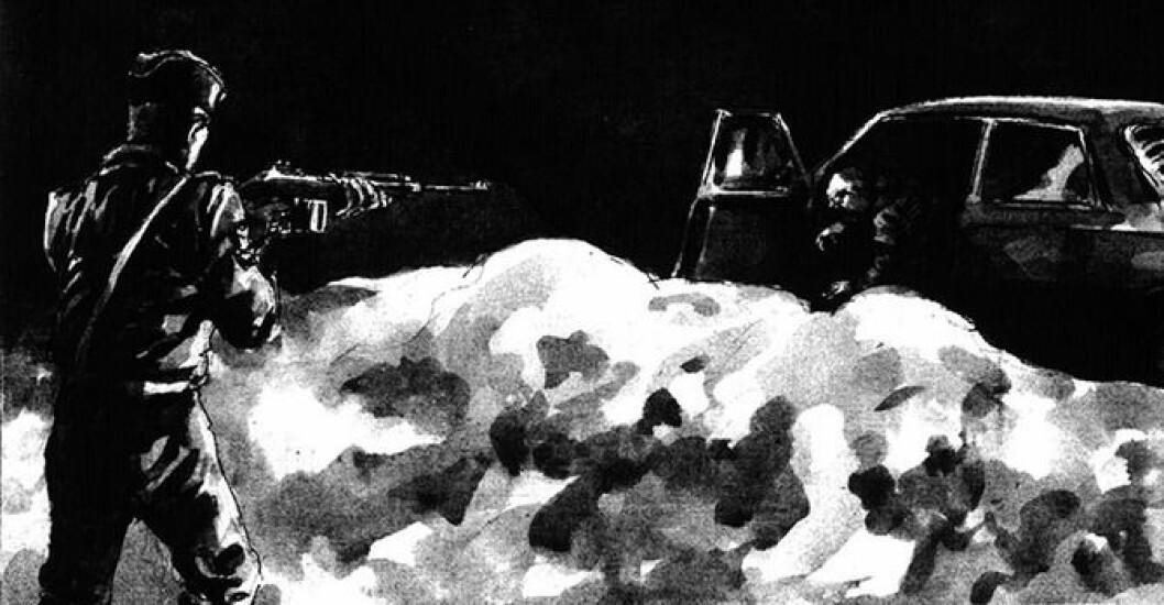 SKUDDET: Like før midnatt en vinternatt i 1993 skjøt og drepte politimannen en person i tjenesten. Denne tegningen ble tegnet noen dager etterpå og stod på trykk i VG. Historien den forteller ble bekreftet av politiet. Tegning gjengitt med tillatelse fra tegner Harald Nygård.