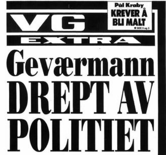 MEDIETRYKK: Her er VGs forside dagen etter hendelsen, som vakte oppmerksomhet. Senere forsider gjenga opplysninger fra vitner, som politimannen ikke kjente seg igjen i.