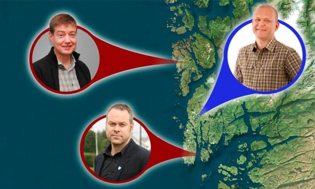 Disse tre politimennene har vært, vil bli eller ønsker å fortsette som ordfører i kommuner i Haugaland og Sunnhordland politidistrikt. Fra venstre: Odd Harald Hovland (Ap), Bømlo, Kyrre Lindanger (Ap), Bokn (nede) og Jarle Utne-Reitan (H), Haugesund.