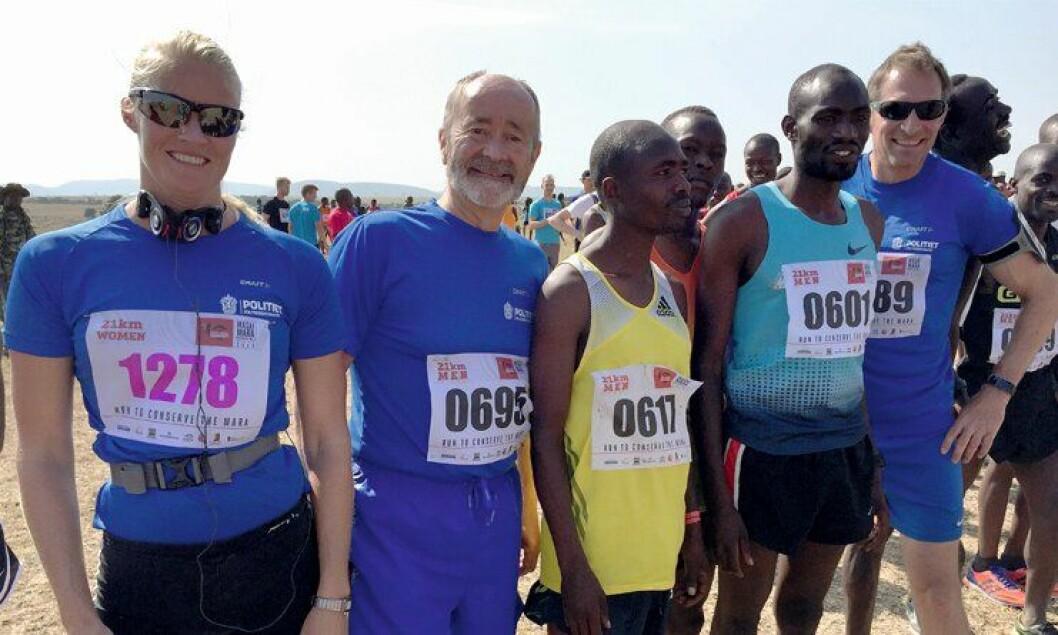 Ørkenløperne: Tidligere politimester Bjørn Hareide løp nylig halvmaraton i Kenya. Etter å ha lest om Hareide i fjor, valgte også Ruth Torill Pettersen (Oslo PD) og Ragnar Wolf (Hordaland PD) å bli med i år.
