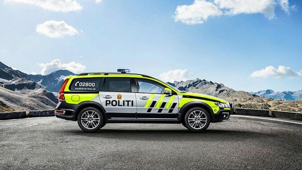 """Vil den se slik ut? Politiforum har """"uniformert"""" Volvo XC70, med tillatelse fra Volvo. Fotomontasje: Ådnes Sinnes."""