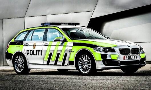 Blir den slik? BMW 520d skal bli liten patruljebil. Vi har drømt oss bort til 2017 og lagt på uniformering. Bildet er manipulert med tillatelse fra BMW.