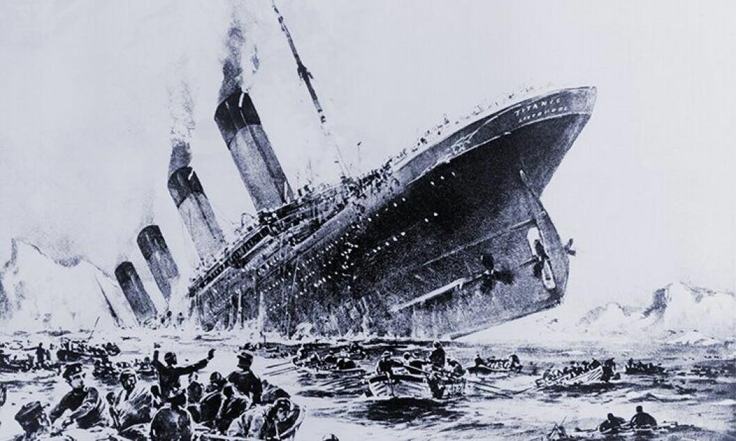Willy Stöwers «Der Untergang der Titanic» illustrerer det synkende skipet.