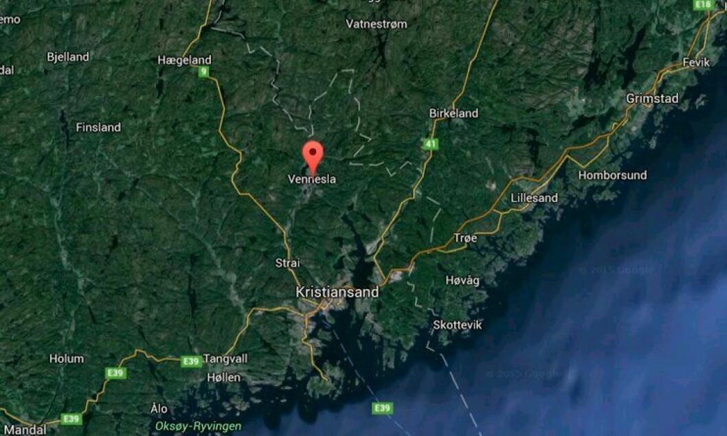 Knivstikkingen fant sted i Vennesla sentrum, snaut to mil nord for Kristiansand.