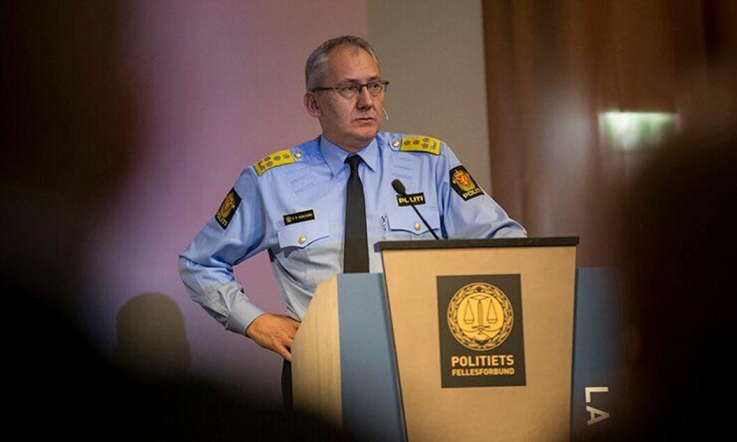 Politiredaktør Odd Reidar Humlegård på Politiets Fellesforbunds landsmøte.