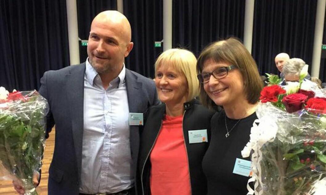 Ragnhild Lied, i midten, er ny Unio-sjef. Kjetil Rekdal og Solveig Kopperstad Bratseth er nye nestledere.