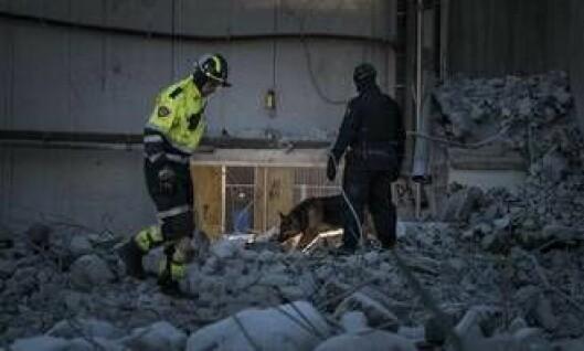 Kristian Schatvet fra brannvesenet setter sier hjelpen fra hundene er uvurderlig.