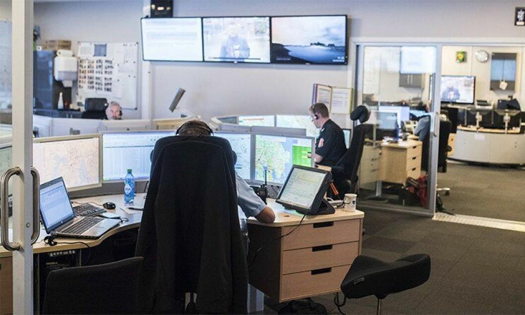 110-operatører ved Vestviken 110-sentral i Drammen. I dag er det ifølge DSB sju operatørplasser her og i Telemark, men antallet skal ned til fire.